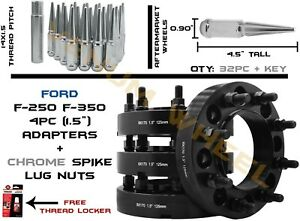 Ford 8x170 4pc Black Hubcentric Wheel Adapters Kit With 32 Chrome Spike Lug Nuts