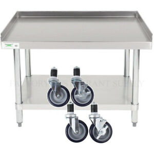 30 X 36 Heavy Equipment Stand W Casters Stainless Steel Work Table Commercial