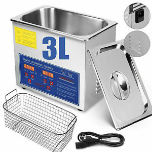 Digital Stainless Steel 3l Industry Heated Ultrasonic Cleaner Heater W Timer Us