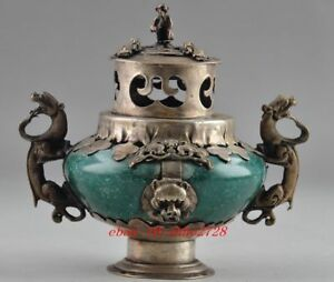 Chinese Brass Censer Carved Dragon Green Jade Incense Burner