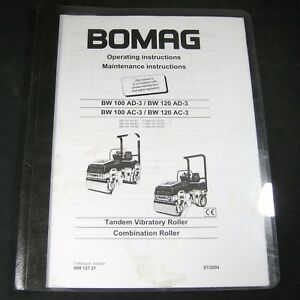 Bomag Tandem Vibratory Roller Bw100ad3 120ad3 100ac3 120ac3 Maintenance Manual