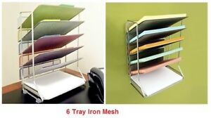 6 Tier Document Tray Holder Organizer Wall Mount Desktop Letter Paper Sorter
