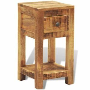 Vidaxl Solid Mango Wood Side End Table Storage Cabinet Nightstand 1 Drawer
