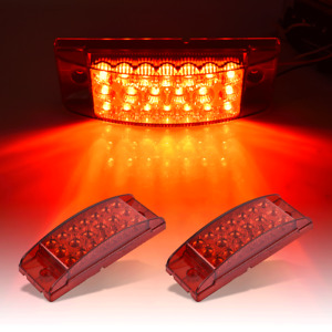 2x Red 6 Rectangle Surface Mount 20 Led Tail Light Marker Clearance Trailer Rv