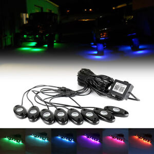 8pcs Rgb Led Rock Lights Wireless Bluetooth Music Flashing Multi Color Offroad