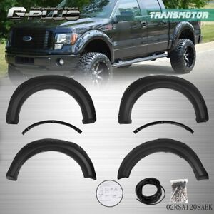 2009 2014 F150 Offroad 6pc Pocket Rivet Style Black Wheel Fender Flares Cover