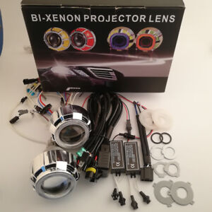 2 5 Car Bi Xenon Hid Projector Lens Kit With Double Angel Eyes Bulbs H1 H4 H7