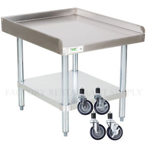 30 X 24 Heavy Equipment Stand W Casters Stainless Steel Work Table Commercial