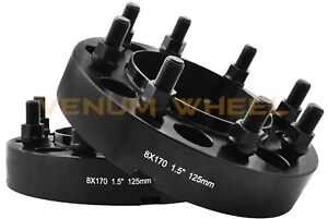 Pair Of 8x170 Black Hubcentric Adapters 1 5 Thick 125mm Hub Bore 14x1 5 Studs