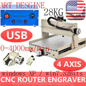 4 Axis 3040t Usb Cnc Router Engraver Engraving Cutting 400w 3d Milling Cutter