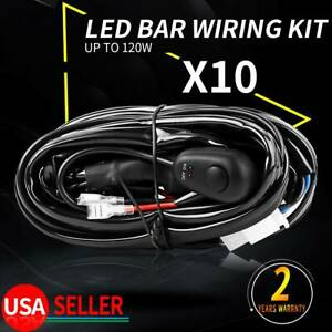 10x Led Light Bar Wiring Harness Kit 12v 40amp Fuse Relay On off Switch Us