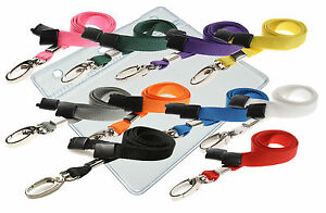 Plastic Id Badge Card Pouch Pocket Wallet Neck Strap Lanyard Lobster Clip Lot