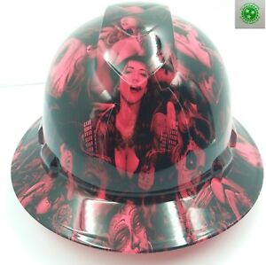 Full Brim Hard Hat Custom Hydro Dipped New Hot Pink Tattoo Babes Bandito New