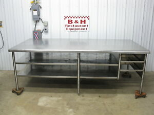 8 X 4 Heavy Duty Stainless Steel Island Work Table W Under Shelf 96 X 48