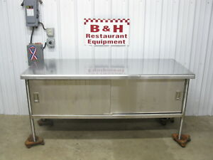 6 X 30 Heavy Duty Stainless Steel 2 Door Cabinet Kitchen Island Work Table 72