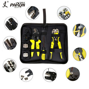 1pcs 4 In 1 Ratchet Terminal Crimping Tool Wire Strippers Plier Kit Yellow black