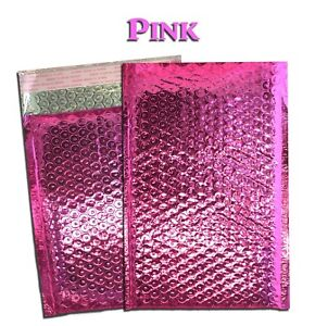 10 100 Lot 6x10 4x8 Pink Metallic Bubble Mailer Business Envelope