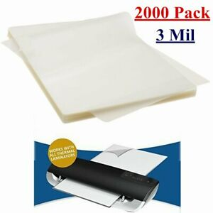 2000 Pack 3 Mil Letter Size Clear Thermal Laminating Pouches 9 X 11 5 Sheets
