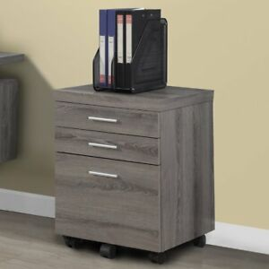 Monarch Specialties 3 drawer Mobile File Cabinet I 7049 Dark Taupe Modern