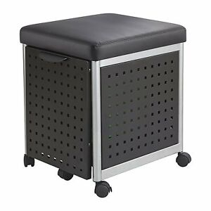 Safco Scoot Mobile Filing Cabinet With Cushioned Seat 5380bl Black Modern Steel
