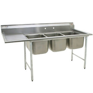 Eagle 412 24 3 24r Three 24 Bowl Compartment Sink With 24 Drainboard
