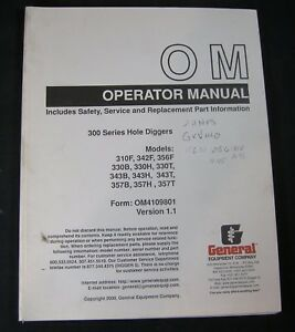 General Equipment Company 300 Series Hole Diggers Auger Operator Parts Manual