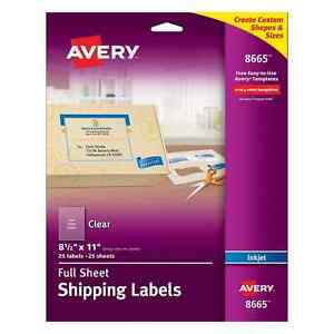Avery Clear Full sheet Labels Inkjet Printers 8 5 X 11 Inches Pack Of 25 866
