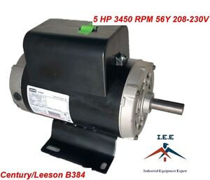 5 Hp Compressor Duty Electric Motor 22 Amp 3450 Rpm 56 Frame 7 8 Shaft 230vac