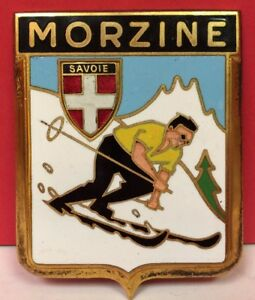 Vintage Automobile Badge Paris Savoie Morzine Skier Alps
