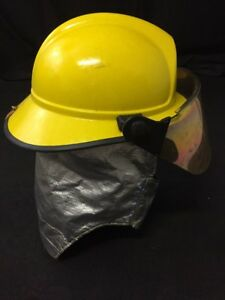 Morning Pride Fire Fighter Helmet Turnout Gear Yellow W shroud Visor Unit 4