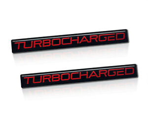 2 Brand New Turbocharged Turbo Charged Badges Sticker Emblem Black Red