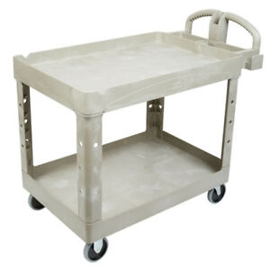 Rubbermaid 452088 Heavy Duty 2 shelf Utility Cart Beige Fg452088beig