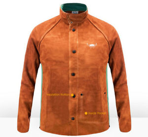 Flame Retardant Welder Clothing Fr Split Cow Leather Welding Jackets