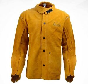 Weldas Fire Retardant Cowhide Leather Welding Jacket Fr Sateen Cotton Back