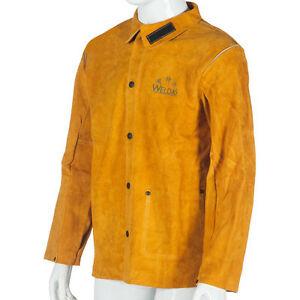 Weldas Heavy Duty Fire Retardant Cowhide Leather Welding Jacket Inside Pocket