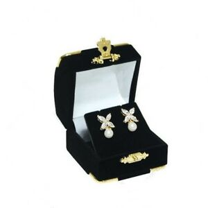 12 Black Velvet Brass Accent Earring Jewelry Display Presentation Gift Boxes