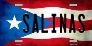 Salinas Puerto Rico State Flag Background Novelty Metal License Plate Tag