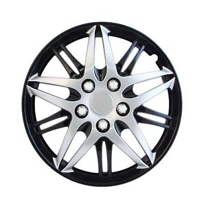 Car Wheel Hub Caps Tire Wheel Cover Black And Silver 15 Inch Abs Plastic