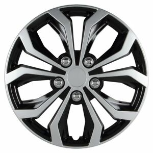 Hubcap Wheel Black And Silver Universal Spyder Performance 15 Inch Hubcaps Set