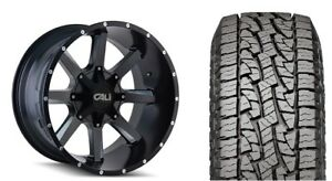 20 Cali Offroad 9100 Busted Black Wheels 33 At Tires Package 6 5 5 Gmc Chevy