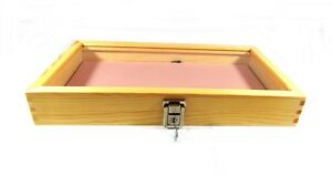 Key Lock Natural Wood Glass Top Pink Pad Display Case Militaria Jewelry Knife