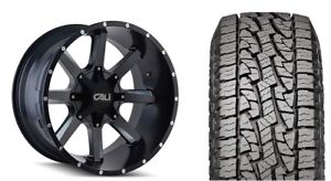 20 Cali Offroad 9100 Busted Black Wheels 33 At Tires Package 5 5 5 Dodge Ram