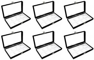 Wholesale Lot 6 Glass Top Lid White 8 Space Jewelry Collectibles Display Cases