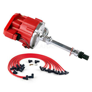 New Sbc Chevy 350 Hei Distributor With Plug Wires 90 Complete Kit Red Out