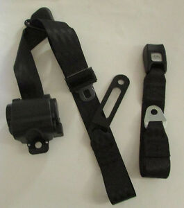 3 Point Made In Usa Black Seat Belt Retractable Lap With Harness For Bench Seat