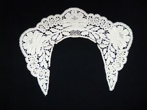 Antique Hand Made Lace Collar Needle Work Pillow Buttons Petals