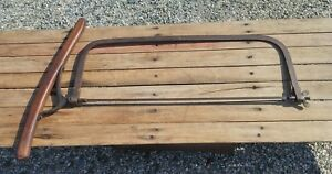 Very Rare 2 Man Butcher s Meat Bone Splitting Saw W Long Wooden Turning Handle