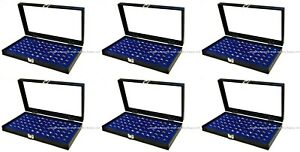Wholesale Lot Of 6 Glass Top Lid 72 Ring Blue Jewelry Display Box Storage Cases