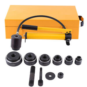 New Hydraulic Knockout Punch Driver Kit 10 Ton 6 Dies Gauge Conduit Hole Tools