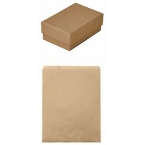 100 Kraft Brown Cotton Fill Jewelry Gift Boxes 3 1 4 X 2 1 4 X 1